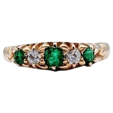 Antique Emerald and Diamond Ring 18ky