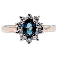 Vintage Natural 1.00ct Sapphire and Diamond Ring 14k