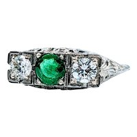 Beautiful Natural Emerald and Diamond Art Deco Ring