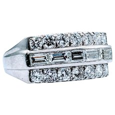 Gorgeous 3 Row Vintage Platinum Diamond Band
