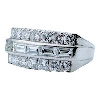 Gorgeous 3 Row Vintage Platinum Diamond Band