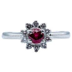 Ruby and Diamond Halo Platinum Ring