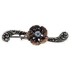 Victorian Flower Scroll Diamond Brooch