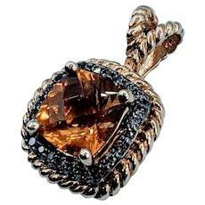 Beautiful Citrine & Brown Diamond Pendant