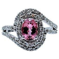 1.25ct Pink Tourmaline & Diamond Ring
