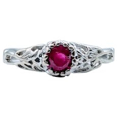 Natural Ruby & Scroll Design Ring!