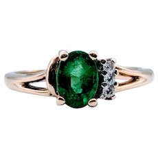 1ct Natural Emerald & Diamond Ring
