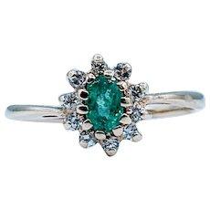 Natural .20ct Emerald & Diamond Ring