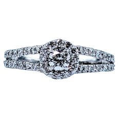 Elegant Round White Diamond Ring