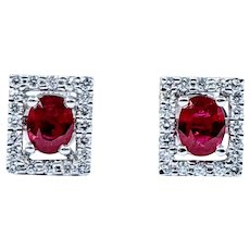 Gorgeous Ruby & Diamond Frame Stud Earrings