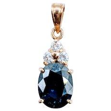 18kt 2.60ct Sapphire & Diamond Pendant