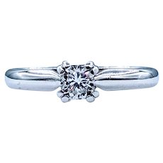 Simple and Stunning White Diamond Solitaire Ring