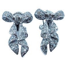 1/4ctw Diamond Bow White Gold Earrings
