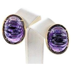 Big & Bold Carved Amethyst & 18K Gold Earrings