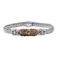 "John Hardy Citrine & Sterling Silver ""Caviar"" Bracelet"