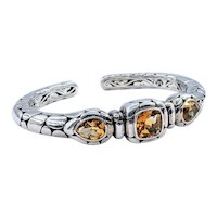 John Hardy Citrine & Sterling Silver Hinged Cuff Bracelet