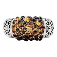 "John Hardy Citrine & Sterling Silver ""Caviar"" Ring"
