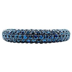 Awesome Pave Set Sapphire 5-Row Ring 18k