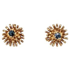Charming Sapphire & 14K Gold Dandelion Stud Earrings