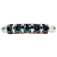 Stunning .50ctw Fancy Blue Diamond Gold Ring