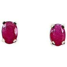 Classic Ruby & Gold Stud Earrings