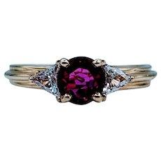 Classic .70ct Ruby & Diamond 3-Stone Ring