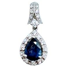 Gorgeous Blue Sapphire & Diamond Pendant