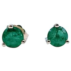 .92ctw Untreated Natural Round Emerald Stud Earrings