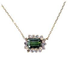 Fine Tourmaline & Diamond Chain Necklace
