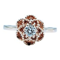 Geometric Floral Diamond Solitaire Ring