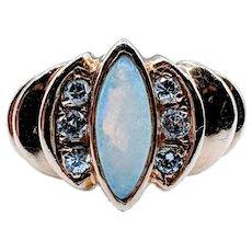 Natural Opal & Diamond Ring