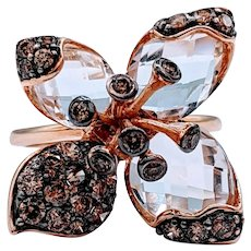 Retired LeVian Chocolate Diamond and Quartz Floral Ring