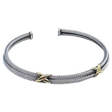 David Yurman Sterling & 14K Gold Collar Choker