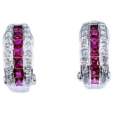 Classy Ruby & Diamond Omega Back Earrings