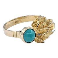 Vintage Turquoise & 18K Gold Fashion Ring