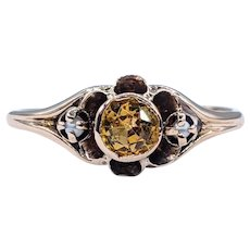 Antique Citrine & Seed Pearl Dress Ring