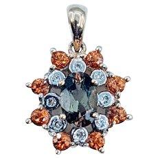 Beautiful Quartz, Garnet & Diamond Pendant