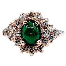 Gorgeous .75ctw Diamond & Green Stone Ring