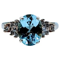 Gorgeous Sky Blue Topaz & Diamond Ring
