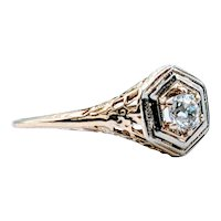 Antique .27ct Old Mine Cut Diamond Ring