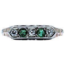 Vintage Midcentury Emerald & Diamond Gold Ring