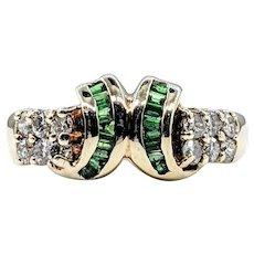 Retro Emerald & Diamond Dress Ring