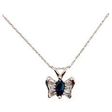 Sapphire & Diamond Butterfly Necklace