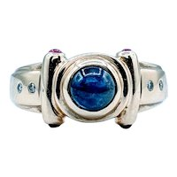 Cabochon Sapphire Ring With Rubies & Diamonds