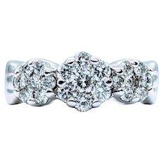 3 Station Diamond Cocktail Ring