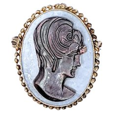 Unique & Beautiful Mother of Pearl Cameo Brooch / Pendant
