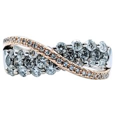 **Weekend Sale Item** Stunning 1.00ctw Diamond Two Tone Crossover Ring