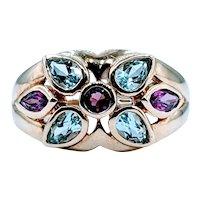 10kt Aquamarine & Tourmaline Ring