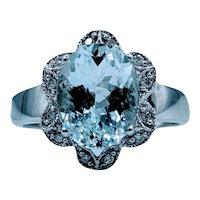 Vintage Aquamarine & Diamond Halo Ring