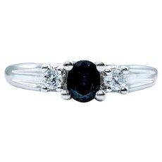 3 Stone Sapphire and Diamond Ring